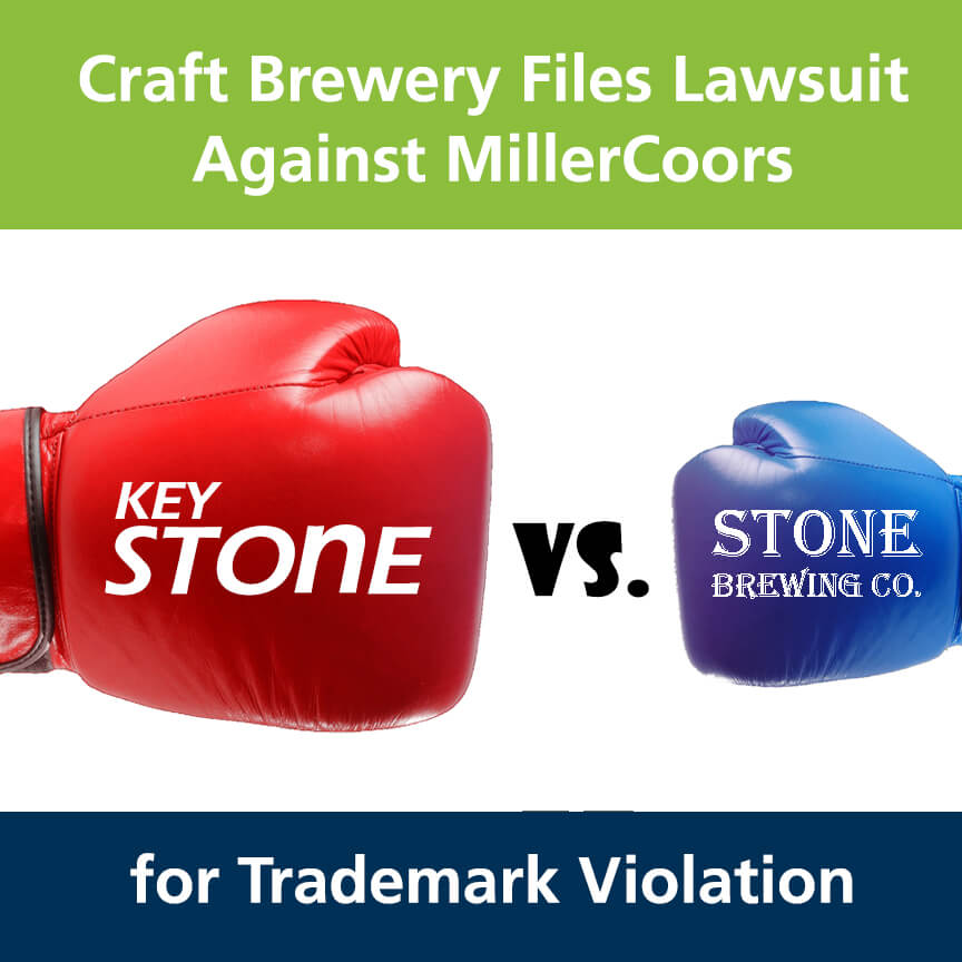 Craft Brewery Files Lawsuit Against MillerCoors Trademark Violation - Image of boxing gloves with Keystone vs. Stone Brewing Co.