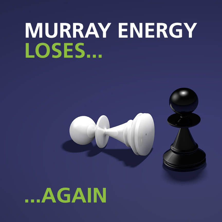 Image of fallen chess piece with text Murray Energy Loses Again
