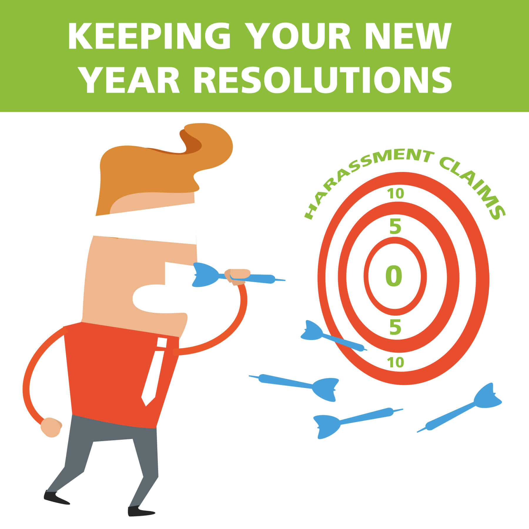 keeping your new year resolutions harassment man blind-folded throwing darts
