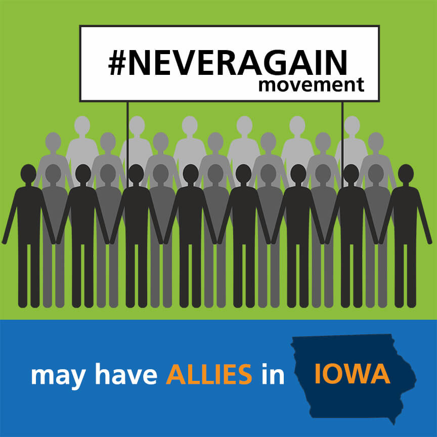 Graphic of protesters with title #neveragain movement may have allies in iowa